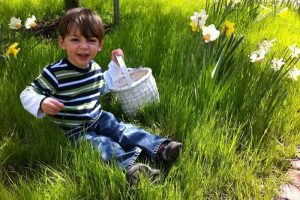 Child with easter basket in the grass